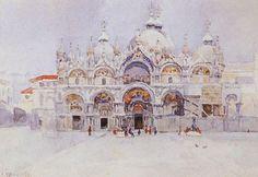 "Vasily Surikov, ""Saint Mark's Basilica,"" 1884 (via Wikipaintings) Saint Mark's Basilica, Post Impressionism, Paper Artist, Art Database, Caravaggio, Russian Art, Grand Tour, Watercolor Paintings, Watercolour"