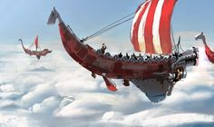 Steampunk modern vikings by Flying Ship, Flying Boat, Steampunk Airship, Dieselpunk, Victorian Steampunk, Sci Fi Fantasy, Fantasy World, Fantasy City, Concept Ships
