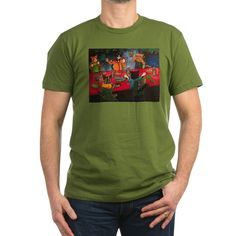 Night Feast Cats Olive Green Fitted T-Shirt #awesome #CafePress #cats #cat #catlovers #catlife #catlady #catloversclub #crazycatlady #art #drawing #illustrationart #illustration #catart #buyart #buy #buyable #onlineshopping #cutecats #cutepetclub #kitty #kittycat #kittens #kittenspace #acrylicpaint #acryliccats #catsandme #cuteanimals #katzen #gatos #chat #gatti #neko #giftsforher #5cats #night #grapes #vine #grapevine #fishdish #fish #food #sharks #drink #candles #fire #flame #friendship