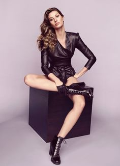 Supermodel Gisele Bundchen wears leather jacket and booties in Arezzo's fall 2017 campaign
