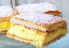 CREMŞNIT PUFOS ŞI SAVUROS Îţi plac prăjiturile cu cremă? Învaţă să faci în casă un cremşnit pufos şi savuros după această reţetă uşoară!  INGREDIENTE 1 pachet foi cremşnit (cremeş)