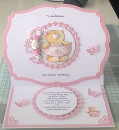 Birthday Card Easel Cards, 3d Cards, Kids Birthday Cards, It's Your Birthday, Forever Friends Cards, Teddy Bear Birthday, Bear Card, Baby Girl Cards, Animal Cards