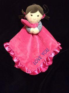 Carters Love You Girl Pink Security Blanket Brown Hair Satin Blue Stripe Baby  #Carters
