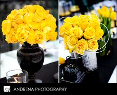 Yellow Wedding Flower Centerpieces and Table Decorations