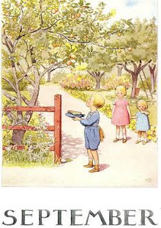 September illustration by Elsa Beskow Elsa Beskow, Vintage Artwork, Vintage Children's Books, Vintage Images, Vintage Illustrations, Foto Transfer, Carl Larsson, Jolie Photo, Months In A Year