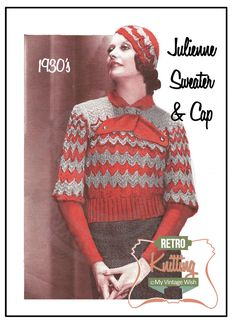 1930s Jumper and Sports Cap Vintage Knitting by MyVintageWish