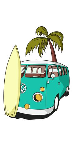 Summer, heat, and you drive your favorite beach van to get a good surf. Summer aesthetic sticker with a surfboard and Volkswagen bus.. #Holiday #Van #Summer #CamperVan #Surf #VW Van Drawing, Surf Drawing, Beach Drawing, Van Hippie, Kombi Hippie, Surfboard Drawing, Surfboard Painting, Campervan Tattoo, Surf Stickers