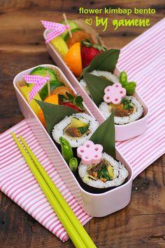 Flower kimbap bento. #bento