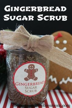 Homemade Gingerbread Sugar Scrub! Easy and inexpensive DIY gift idea! You'll love the scent of this luxurious sugar scrub! Perfect for the holidays!