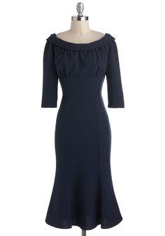 Candid Debate Dress by Stop Staring! - Blue, Solid, Pinup, Sheath / Shift, 3/4 Sleeve, Long, Cocktail