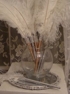 100 Ostrich Feather Pen Favors with Bling in your by Ivyndell, $500.00