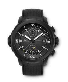 """The IWC Aquatimer Chronograph Edition """"Galapagos Islands,"""" made in tribute to the archipelago in which Darwin collected the evidence that formed the basis of his theories on evolution and the origin of the species. The watch is water-resistant to 300 meters and features a caseback with an engraving representing the exotic wildlife of the Galapagos."""