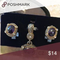 Amethyst Pendant & Earrings NWT Beautiful Amethyst Pendant & Post Earrings NWT  MX Signature. CZ. Lead compliant. MX Signature Jewelry