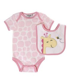 chick pea Pink Jungle Love Bodysuit & Bib - Infant by chick pea #zulily #zulilyfinds