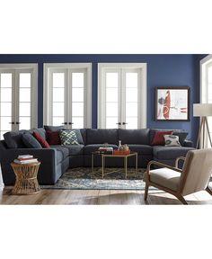 radley 5piece fabric sectional sofa created for macyu0027s custom colors living room - Macys Living Room Furniture