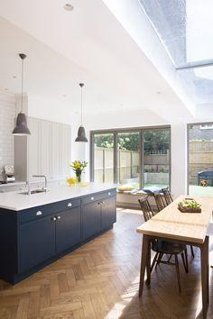 Hague Blue Kitchen, Blue Kitchen Island, Floors, Kitchen Ideas, Kitchens, Wood, Home Decor, Crosses, Home Tiles