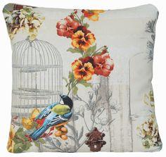 Birds Design Throw Pillow Case Bird Cages Cushion Cover Printed Cotton Fabric Viola