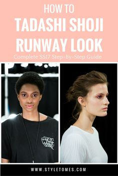 """Makeup Tutorial: Get Runway Makeup from Tadashi Shoji SS17 NYFW Show (More details and complete product list behind the link)  1. Prep the skin with Mineralize Charged Water Face + Body Lotion. Apply with hands to achieve a natural finish. 2. Conceal any blemishes or discoloration with the Studio Finish Concealer. 3. Curl lashes and apply the Haute & Naughty Mascara to both the top and bottom lashes before adding color to the lids or cheeks. 4. Apply """"Utterly Crisp"""" from the MAC SS17…"""