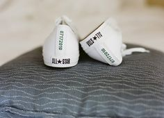 White Personalized Converse as Alternative Wedding Shoes