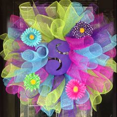 Deco mesh Spring initial letter wreath!
