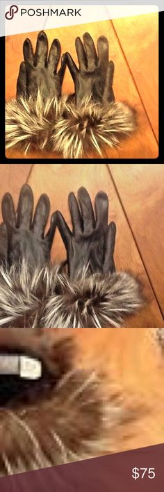 SAKS Fifth Avenue Black Leather Silver Fox Trim Saks Fifth Avenue Women's Leather Gloves with Silver Fox Trim -Pre-Owned in Great Condition   Size 7 and a half Warm Hand and Fadhionable Look For Those Dark Winter Cold Days.  Great Deal! Saks Fifth Avenue Accessories Gloves & Mittens