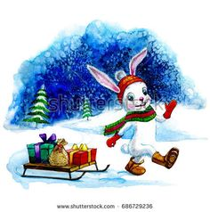 Winter watercolor greeting card with a rabbit. Vintage Merry Christmas and New Year illustration.