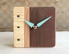 Handmade Wood Clocks   Upcycled wood clock for desktop or wall handmade in Montana - natural ...