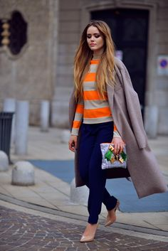 coat and tee with sweatpants