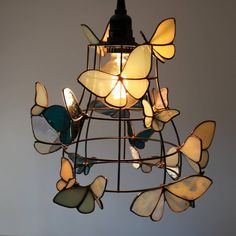Items similar to RESERVED -Moth to a Flame Lamp - Light Fixture with White and Blue Stained Glass Moths on Etsy Stained Glass Light, Stained Glass Designs, Stained Glass Projects, Stained Glass Patterns, Stained Glass Windows, Stained Glass Lamp Shades, Butterfly Stained Glass, Blue Butterfly, Bar Deco