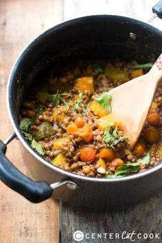 One Pot Lentil Pumpkin Stew Recipe is easy, healthy, hearty, and delicious!