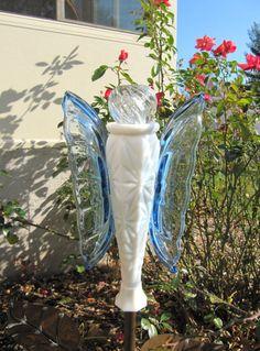 butterfly garden art glass garden artvintage by ADelicateTouch1