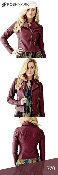 Guess Windsor Wine Mikayla Faux-Leather Moto Timeless and versatile High Quality ?Faux-leather moto jacket. Notched collar. Long sleeves.?Contrast ponte-knit panels at inner sleeves. Topstitch detail throughout. Two front zipper pockets.?Off-center front zipper closure. Lined.?Shell: 100% Polyurethane. Contrast: 68% Rayon, 28% Nylon, 4% Spandex. Lining: 90% Polyester, 10% Spandex.?Dry clean Guess Jackets & Coats