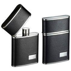 Visol Flip Top Black Leather Stainless Steel 2.5 oz. Hip Flask