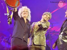 Brian May and Adam Lambert - end of Mohegan Sun QAL concert 7/19/14