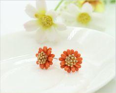 Orange Daisy Pastoral Earrings
