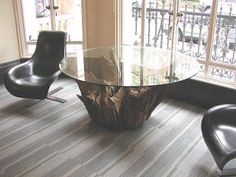 Deballage Designs: Tree Root Table With A Glass Top
