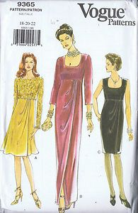 MOMSPatterns Vintage Sewing Patterns - Vogue 9365 Retro Sewing Pattern ELEGANT Titanic Edwardian Look Scoop Neck Empire Waist Draped Front Pleat Evening Gown, Holiday Cocktail Party Dress Vogue Sewing Patterns, Vintage Sewing Patterns, Clothing Patterns, Dress Patterns, Pattern Dress, Evening Gown Pattern, Miss Dress, Dress Tutorials, Pinterest Fashion