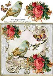 Mooie Vogel Met Rozen En Vlinders 8x8