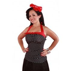 Pinky Pinups Black/White dot Halter Top