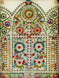 Beautiful Gothic Stained Glass Window Artwork made out of Vintage Buttons.