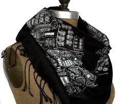 Rocket Science. Apollo cockpit black pashmina scarf. Silkscreened white on black. For men or women.. $44.00, via Etsy.