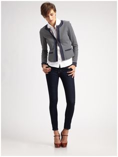 Only way I will ever wear straight legged pants- Love this outfit! Knit  Jacket 412a06ef6