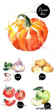 Watercolor abstract painted vegetables and fruits