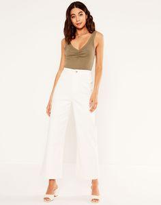 Dressy Pants, Large Buttons, Cotton Pants, Fashion Company, Workout Pants, Wide Leg Pants, Latest Fashion Trends, Work Wear, Night Out
