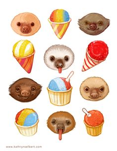Fine+Art+Print++Sloths+and+Snow+cones+by+kathrynselbert+on+Etsy