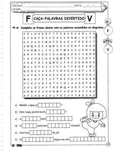 Caça-palavras letras F e V