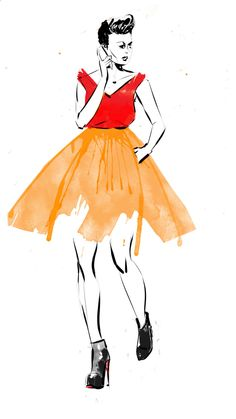 fashion illustration Hilbrand Bos - wide skirt