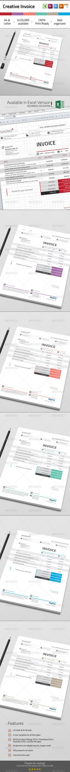 Modern Clean Invoice Template, Fonts and Proposal templates - create your own invoices