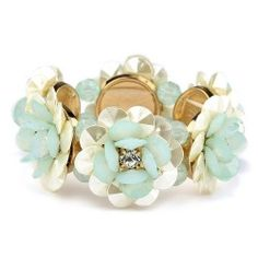 Pearlized Flower and Mint Stretch Bracelet on sale $23.15 til 3/30/15 Shop Now!!