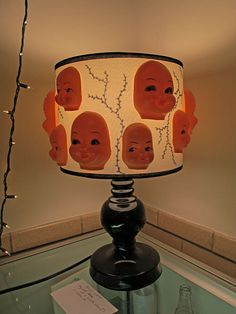 Doll Head Lamp http://www.tackytreasures.com/images/ttrs/ttrs2014BabyLamp_0285.jpg Halloween Themes, Halloween Doll, Halloween Decorations, Halloween Crafts, Diy Doll Lamp, Doll Crafts, Fun Crafts, Doll Head, Doll Face